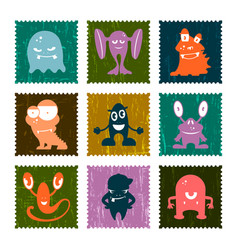 set of retro postage stamp funny monsters vector image vector image