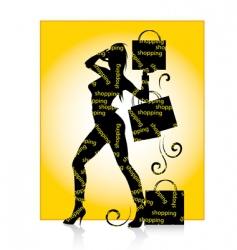 shopping girl silhouette vector image vector image