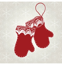 Winter card with gloves vector image vector image