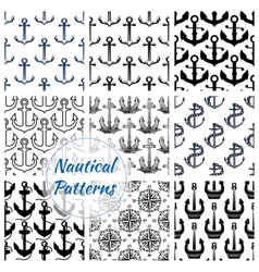 Anchor and compasses nautical seamless pattern set vector image vector image