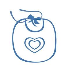 Baby bib blue with heart symbol vector image