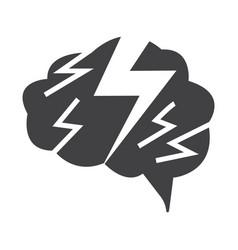 flat black brain icon vector image vector image