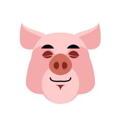 Pig sleeping emoji piggy asleepl emotion on white vector