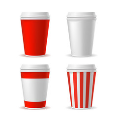 red blank plastic cup set vector image vector image