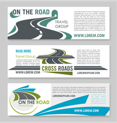 road travel banner template for tourism design vector image
