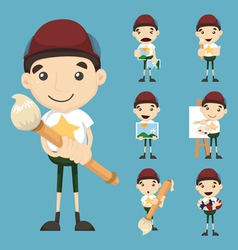 Set of boy and paintbrush vector image vector image