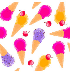 sweet seamless pattern with multiciolor fruit ice vector image