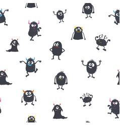 cute cartoon monsters seamless pattern vector image vector image