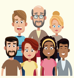 group people members family vector image