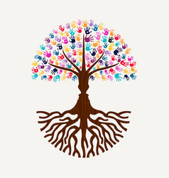 hand print tree with human face silhouette shape vector image vector image