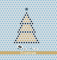 Merry Christmas Card - Dotted Tree vector image vector image