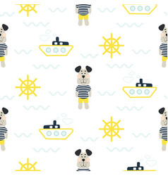 Pajamas boy pattern with tilda sailor dog seamless vector