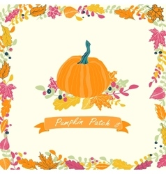 Pumpkin patch card design vector image