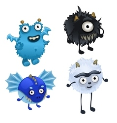 Set of four cute furry monster isolated vector image vector image