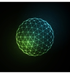 3d illuminated neon sphere glowing particles vector