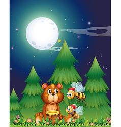 A bear near the pine trees with Santa bees vector