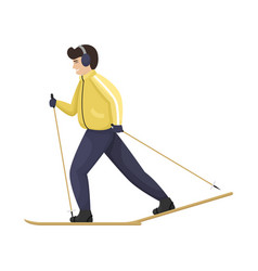 A man in winter clothes on cross-country skiing vector