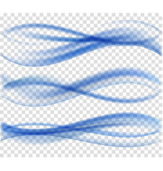 Abstract blue wave set on transparent background vector
