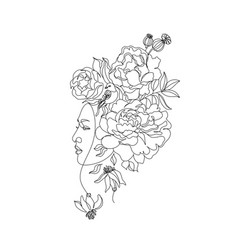 Abstract face with flowers one line vector