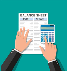 accountant checks money balance vector image