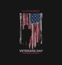 american flag veterans day design tshirt vector image