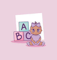 Baby shower card with girl and alphabet blocks vector