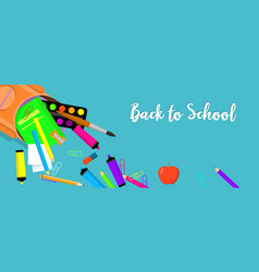 back to school tools banner horizontal flat style vector image