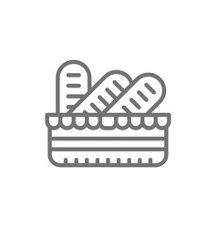Baguettes in a basket french bread line icon vector