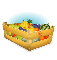 Basket of healthy organic fruits vector