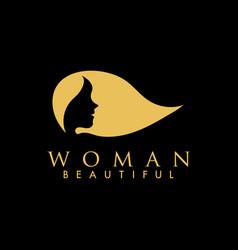Beautiful woman logo design inspiration vector