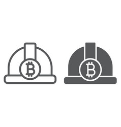 bitcoin miner hat line and glyph icon finance vector image