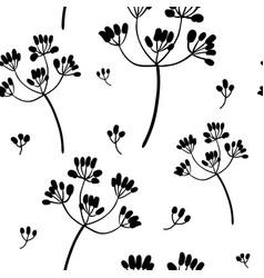Black on white flowers seamless pattern vector