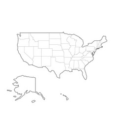 blank black outline map of usa united vector image