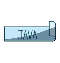 Blue shading silhouette label text of java vector