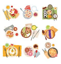 breakfast meal morning tasty healthy food types vector image