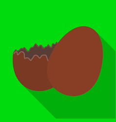Broken chocolate egg easter single icon in flat vector