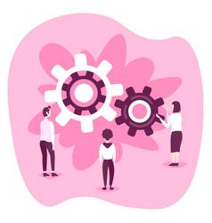 Businesspeople looking cog wheel process business vector