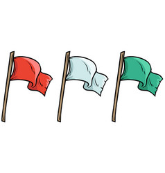 Cartoon colored waved flags on wooden stick vector