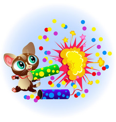 cartoon sweet little kitty with bright vector image