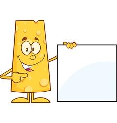 Cheese Cartoon Holding a Sign vector