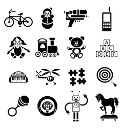 Childrens toys icons set simple style vector image