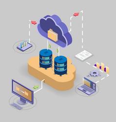 cloud storage technology flowchart isometric vector image
