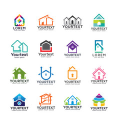 collection home and building logos vector image