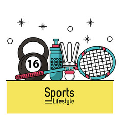 colorful poster of sports lifestyle with badminton vector image