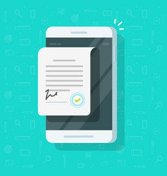 Contract document on smartphone vector