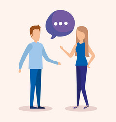 couple with speech bubbles vector image