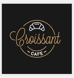croissant logo round linear cafe vector image