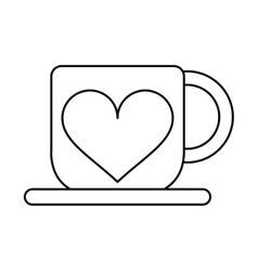 cup coffee love heart hot outline vector image