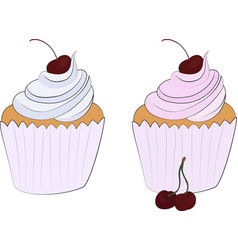 cupcake isolated on white icon set vector image