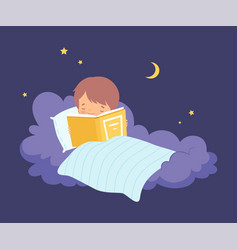 Cute little boy lying on a cloud under blanket vector